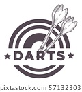 Darts game, two missiles, throwers on a dartboard 57132303