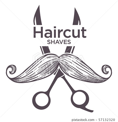 Barber shop label, isolated monochrome sketch 57132320