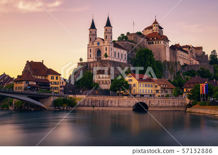 Aarburg Castle and the Aare river in the canton of Aargau, Switzerland 57132886