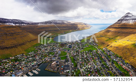 Aerial panorama of the city of Klaksvik on Faroe Islands, Denmark 57132954