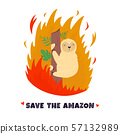 Amazonian forest in fire. Sloth in flame. 57132989