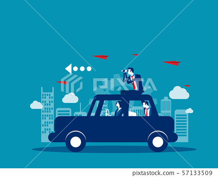 Business team travel on with car. Concept business 57133509