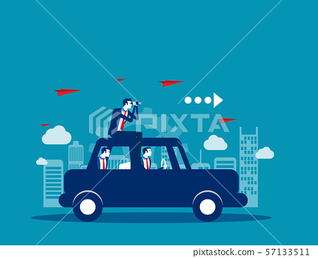 Business team travel on with car. Concept business 57133511