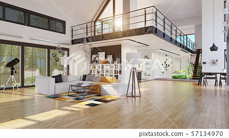 Modern House Interior Design Stock Illustration 57134970 Pixta
