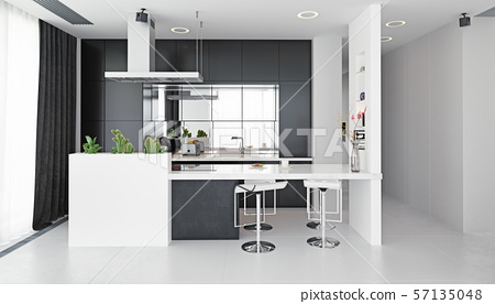 modern kitchen black&white interior. 57135048