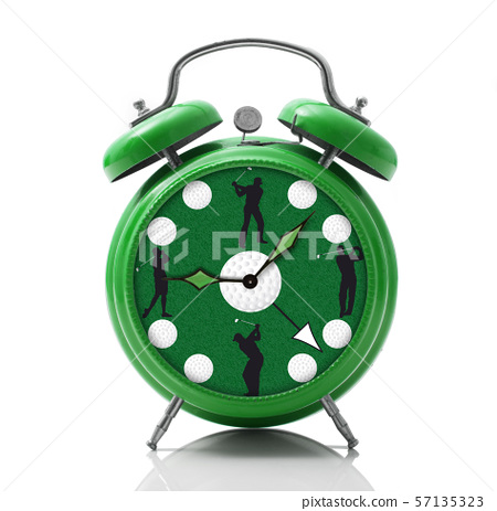 alarm clock with golf dial on white background 57135323