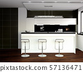 3d rendering of new black and white matte kitchen 57136471