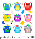 Set of different school backpacks with stationery. Vector illustration on a white background. 57137886