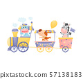Hippopotamus, dog and zebra ride in a train and carriage. Vector illustration on a white background. 57138183