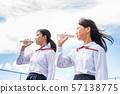 นักเรียนมัธยมต้น, น้ำ, ขวดพลาสติก 57138775