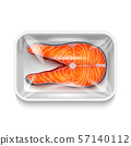 Isolated Fish Salmon Steak in Realistic Style 57140112