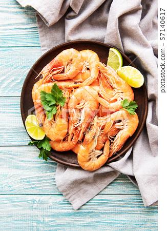 Shrimps served on a plate 57140617