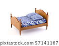 Wooden bed miniature on white background with clipping path  57141167