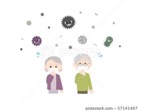 Elderly people who catch a cold 1 57141407
