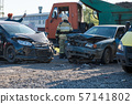 accident of two cars on the road 57141802
