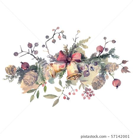 Bouquet chrismas symbol isolated. Watercolor background illustration set. Isolated bouquet 57142001