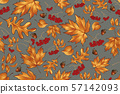 vector floral seamless pattern with autumn leaves 57142093