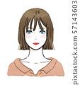 一个女人(上半身)的水彩插图 57143603