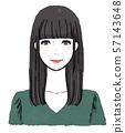 一個女人(上半身)的水彩插圖 57143648