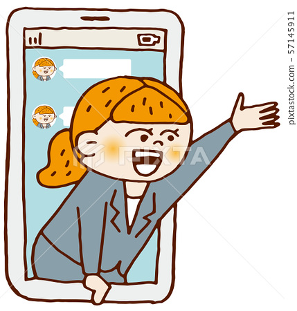 Business woman jumping out of tablet 57145911