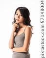 Beautiful Asian woman on white background. 57148004