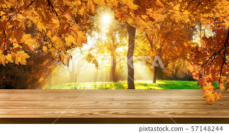 Wood table in autumn landscape with empty space. 57148244