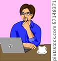 A man who is thinking while working at a desk with a laptop and a coffee cup. 57148371