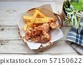 닭 튀김과 감자 튀김 57150622