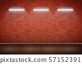 Neon lamps on Red brick wall 57152391