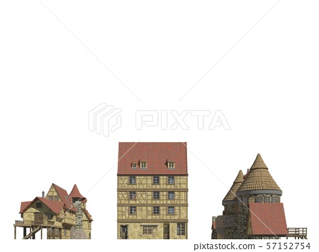 Fairy Tale Buildings Isolated on White Background 3D Illustration 57152754