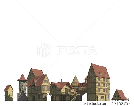 Fairy Tale Buildings Isolated on White Background 3D Illustration 57152758