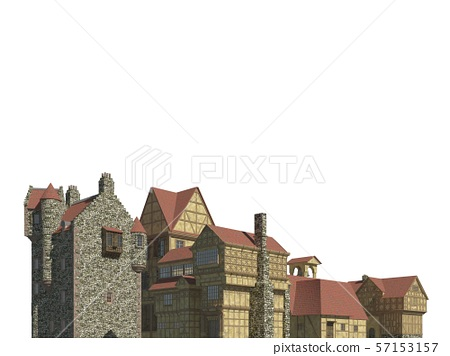 Fairy Tale Buildings Isolated on White Background 3D Illustration 57153157