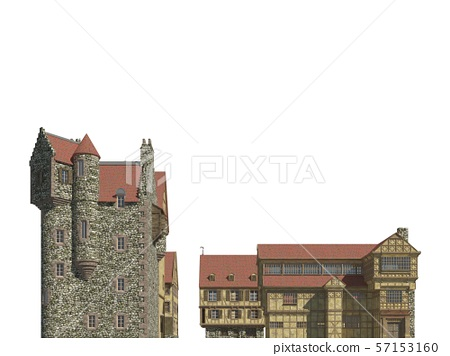 Fairy Tale Buildings Isolated on White Background 3D Illustration 57153160