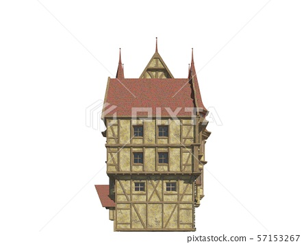 Fairy Tale Buildings Isolated on White Background 3D Illustration 57153267