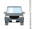 데포르메 된 귀여운 자동차 일러스트 회색 코믹 | 크로스 오버 SUV 4 륜 구동 | 앞면 57153545