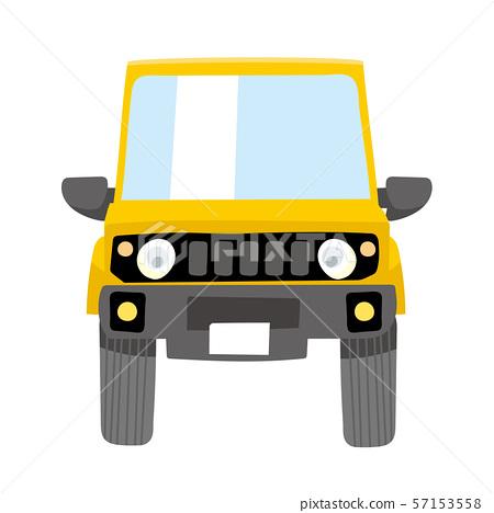 可愛的變形車黃色可笑的插圖 越野四輪驅動車 前面 57153558