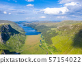 Aerial view of the Glenveagh National Park with castle Castle and Loch in the background - County 57154022