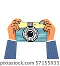hand Holding camera flat design vector 57155033
