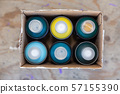 Graffiti spray dispenser in different colors in a box 57155390