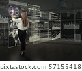 Back view of businesswoman working with virtual panel 57155418