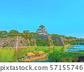 大阪城堡插畫完成 57155746