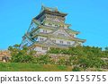 Osaka Castle illustration finish 57155755