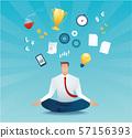 businessman sitting in lotus pose meditation multitasking hard work concept of working hard vector illustration EPS10 57156393