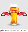 glass of light beer on white 57157097