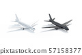 Blank black and white airplane mock up, side view isolated, 57158377