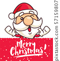 Christmas Santa Claus with Christmas lettering greeting red signboard - Vector character 57159807
