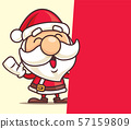 Merry Christmas Santa Claus with big red signboard - vector character 57159809