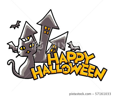 Black cat and creepy castle crying on Halloween night 57161033