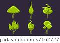 Cute Fantasy Green Trees Set, Fantastic Landscape Elements, Game Ui Scenics Vector Illustration 57162727