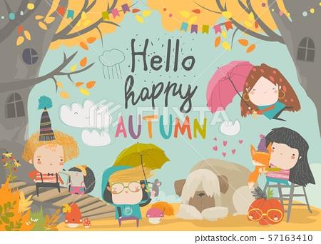 Cute children meeting autumn wearing warm clothes 57163410
